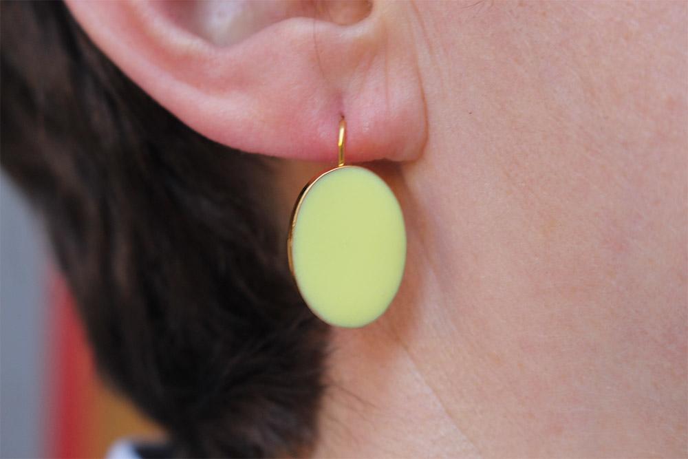 Boucles d'oreilles émails jaune - psyche-paris.com