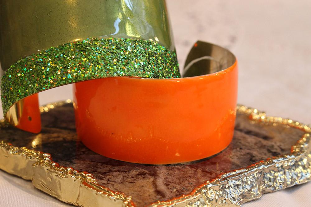 Manchette sipora verte et orange - psyche-paris