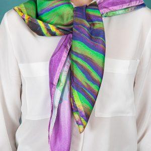 echarpe en soie veritable violet
